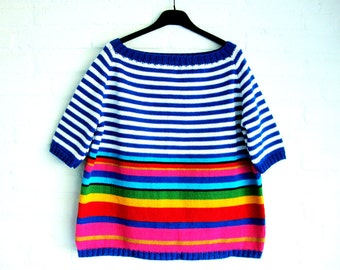 Loose Fit Knitted *Cotton* Fifties model Top Marine  Multi Collored  Stripe  Handmade