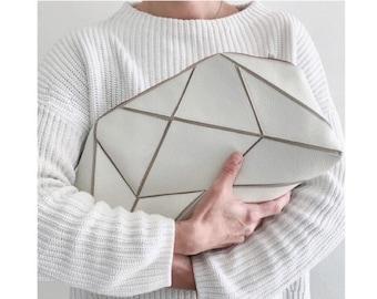 Foldable Clutch / cross body bag - Ivory