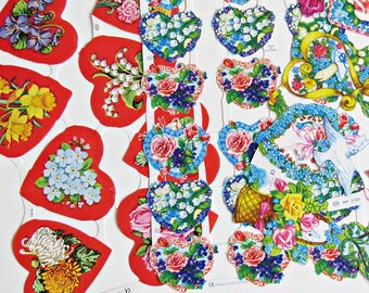 Vintage Paper Hearts and Flowers Decoupage Images Sheets
