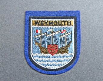 646f9b73767 Vintage Weymouth Woven Embroidered Sampson s Fabric Patch Badge - Weymouth Patch  Badge - Weymouth Souvenir Patch