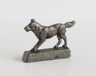 Miniature Lead Pewter Dog on Stand - Miniature Dog Figurine - Diorama Shadowbox Dog