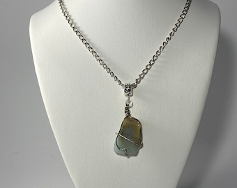 Blue Aragonite and Bronze Colored Antler Pendant Necklace