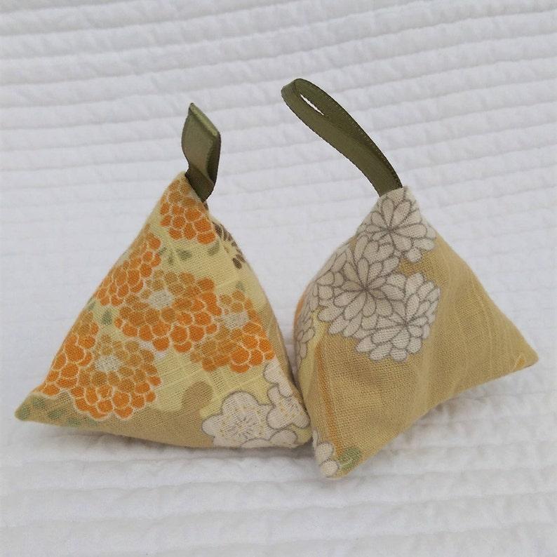 Mustard yellow lavender sachets teacher gift scented sachet zero waste gift Japanese gift 3.5 Upcycled kimono