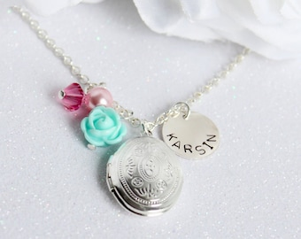 Picture Locket Necklace- Sterling Silver Name Charm, Silver Oval Locket, Flower Girl Gift Keepsake- Photo Locket, Girls Personalized Gift