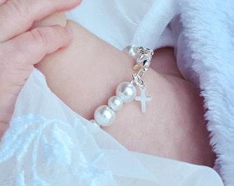 Sterling Silver Cross Baptism Gift Keepsake Child's Bracelet Christening, First Communion Gift for Girls White Pearls Kids Jewelry