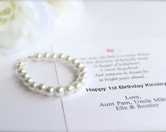 BABY GIRL 1st Birthday Gift Pearl Bracelet With Card First Keepsake Pearls Baby Grandchild