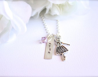 Dancing Ballerina Sterling Silver Personalized Name Tag Dance Necklace, Ballet Charm, Crystal, Girls Dance Necklace, Dancer