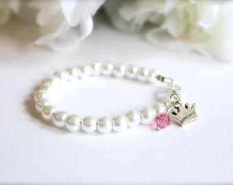 Little Princess Bracelet, Girls Pearl Bracelet Princess Crown Tiara Charm, Birthstone Little Girl Baby Girl Gift, Pink White Ivory Pearls