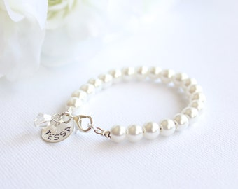 Sterling Silver Personalized Charm, Bridesmaid Gift, Hand Stamped, Ladies Pearl Bracelet, Bridal Party Adult Bracelet