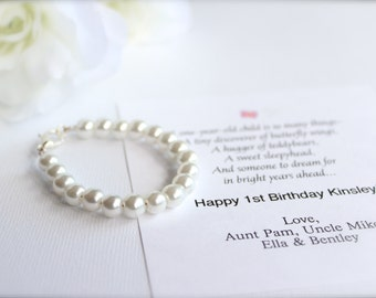 BABY GIRL 1st Birthday Gift Pearl Bracelet with Birthday Card, First Birthday Keepsake, 1st Pearls, Birthday, Baby Bracelet, Grandchild Gift