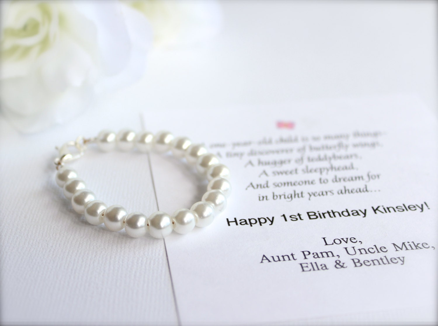 BABY GIRL 1st Birthday Gift Pearl Bracelet With Card