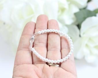 Baby Bracelet Tiny Pearls, Small White Pearls BABY GIRL New Baby Gift Keepsake, 1st Pearls Birthday, Baby Shower Gift