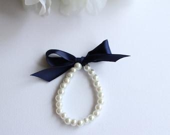 Pearls & Ribbon Bracelet Little Girl, Navy Blue, Midnight Blue, Flower Girl Gift, First Pearls Many Colors