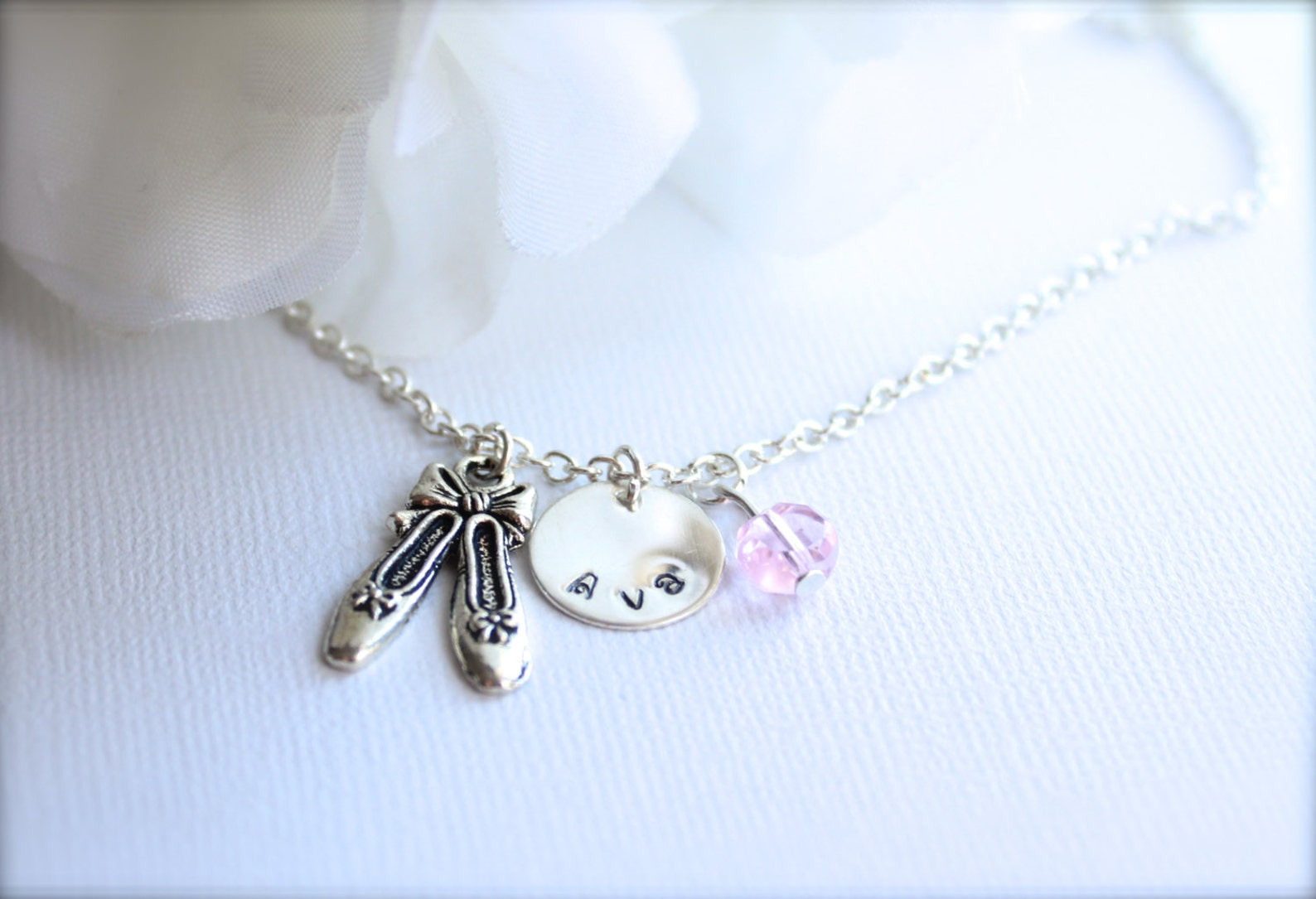 ballet slippers charm necklace for girls sterling silver personalized dance necklace, ballet slippers, dance shoes, pink crystal