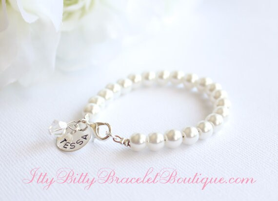 Sterling Silver Personalized Charm, Flower Girl Gift, Hand Stamped, Girls Pearl Bracelet Kids Jewelry, Jr Bridesmaid