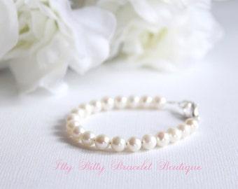 Girls Pearls BABY GIRL Real Pearls Baby Bracelet Freshwater Pearls New Baby Gift, Keepsake, 1st Pearls, Birthday, Baby Shower Gift