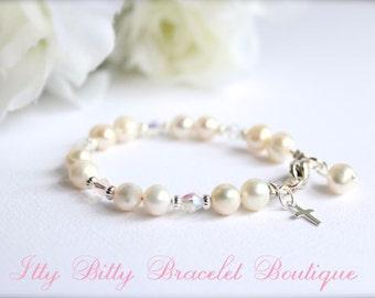 Real Pearls Sterling Silver Cross Baptism Gift Cultured Freshwater Pearls, Keepsake Bracelet, Christening, Communion