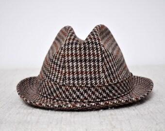 3f00b79908f48 Vintage Gentleman s Brown Tweed Plaid Wool Fedora Hat