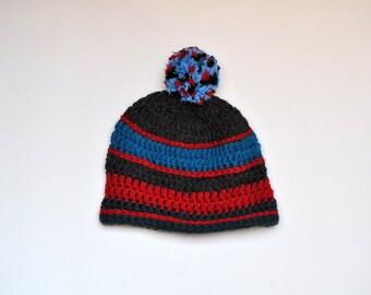 Vintage Handmade Striped Knit Pom Pom Beanie 3ed7514be807
