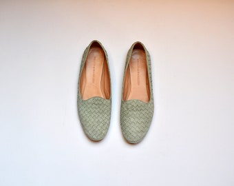 de51bff662d1 Vintage Sage Green Woven Suede Leather Slip On Mary Jane Flat Shoes