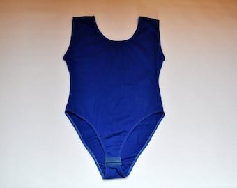 60828f2d562 Vintage Royal Blue Cotton Bodysuit Basic Sleeveless Leotard
