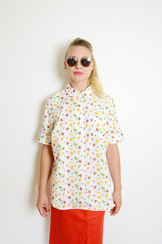 Vintage Oversized White Colorful Fruit Print Butto