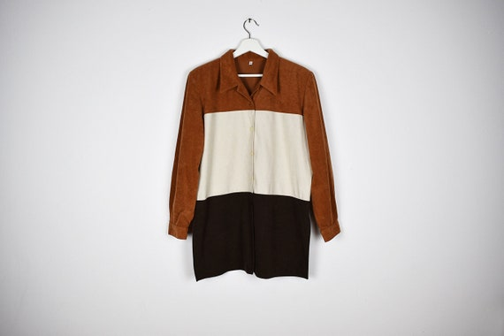 Vintage Black Brown and Off White Colorblock Overs