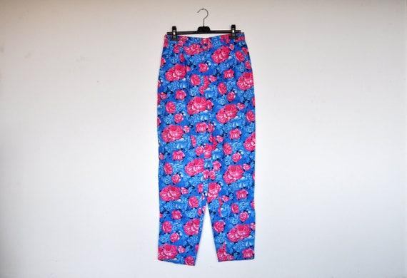 Vintage Oversized Blue and Pink High Waist Floral