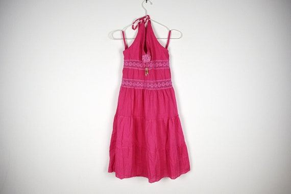 Vintage Pink Tiered Halterneck Midi Dress - image 1