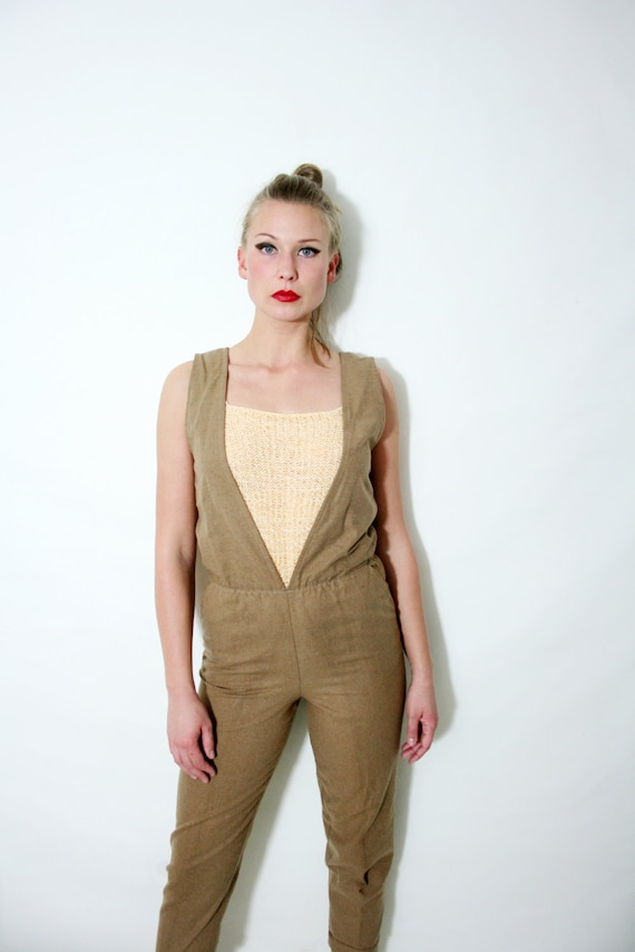 Vntage Tan Pantsuit Deep V Neck Open Back One Piec