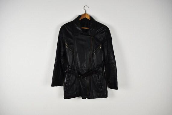 Vintage Black Leather Zip Up Long Belted Jacket
