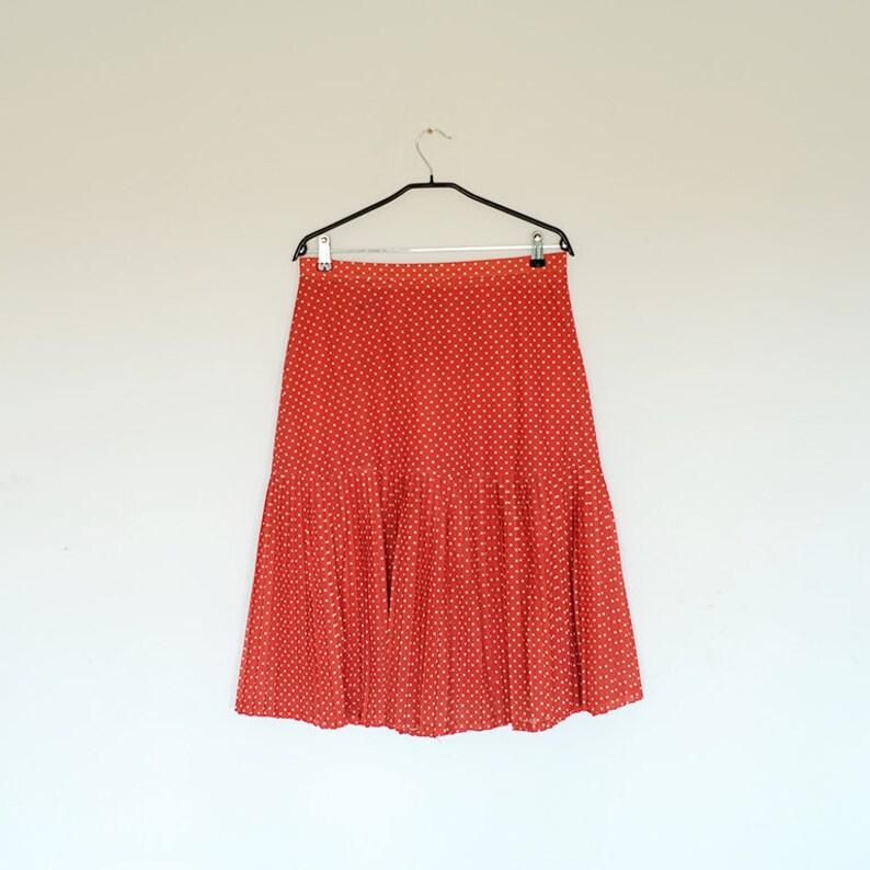 496e6df87 Vintage Oversized Red Polka Dot Drop Waist Pleated Midi Skirt | Etsy