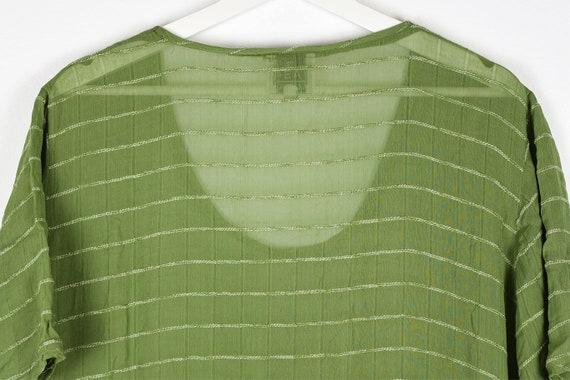 Vintage Sheer Olive Green Midi Dress - image 8