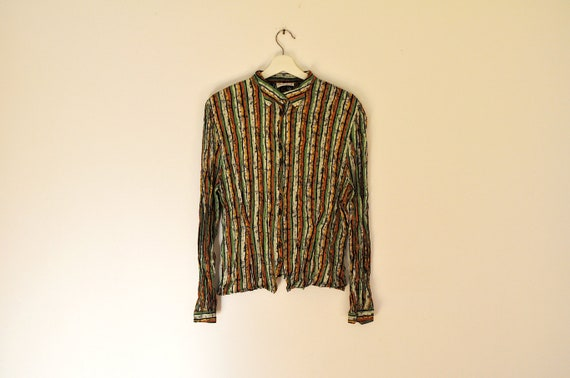 Vintage Colorful Striped Crinkled Button Down Shir