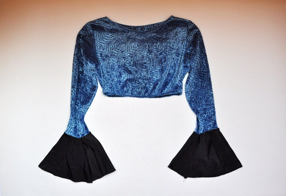 Vintage Blue Velvet Bell Sleeve Crop Top