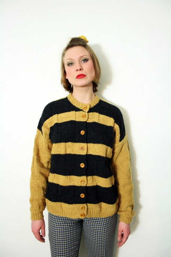 Vintage Handmade Chunky Textured Knit Cardigan Swe