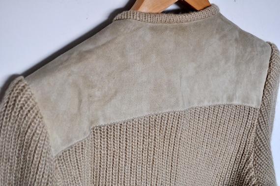 Vintage Tan Suede and Knit Wool Cardigan Jacket - image 7