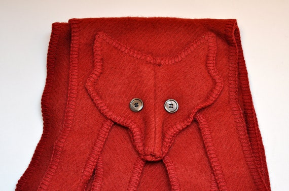 Vintage Brick Red Wool Knit Long Fox Scarf