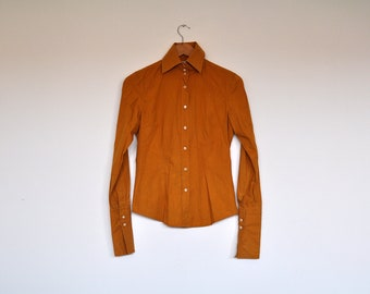 Vintage Mustard Long Sleeve Button Up Tailored Shirt Blouse