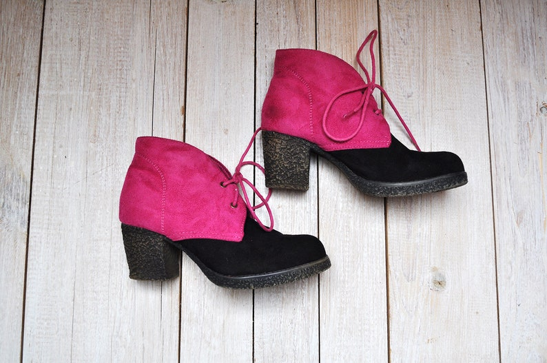 Vintage Pink and Black Faux Suede Colorblock Chunky Heel Lace Up Ankle Booties by Platino