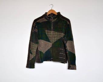 Vintage Green Mixed Abstract Print Fleece Fuzzy Zip Up Knit Sweater Cardigan Jacket