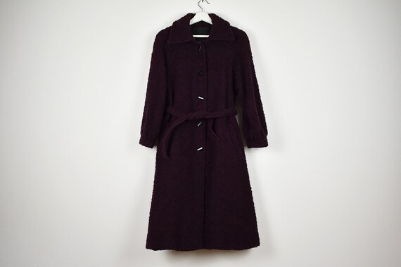 Vintage Plum Purple Boucle Wool Belted Coat
