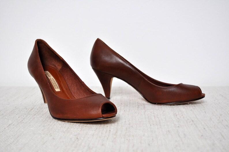 be49f22a907183 Vintage braun Leder Frauen Schuhe Peep Toe Rockabilly Buffalo