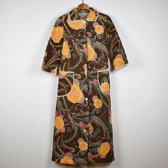 Vintage Brown and Orange Floral Long Button Front