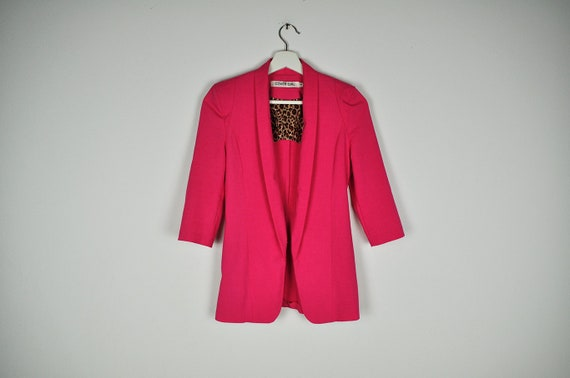 Vintage Hot Pink Mid Sleeve Fitted Blazer Jacket