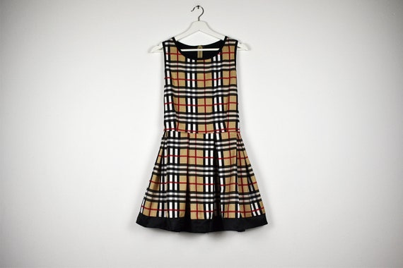 Vintage Tan Plaid Sleeveless Scooter Mini Dress