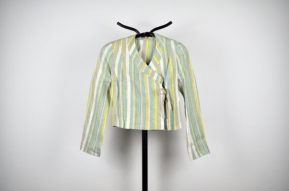Vintage Kenzo Jungle Striped Linen Wrap Shirt Jack