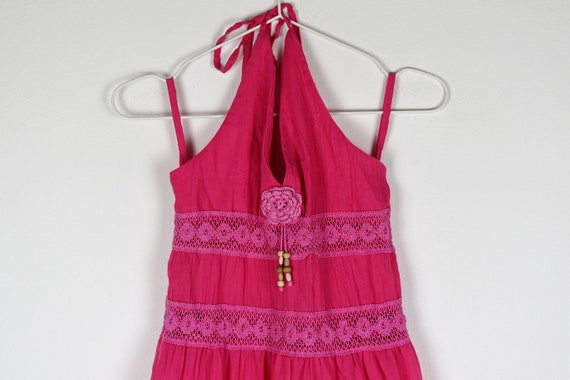 Vintage Pink Tiered Halterneck Midi Dress - image 3