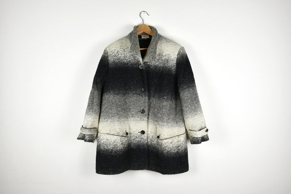 Vintage Ombre Grey Felt Wool Blanket Coat