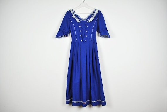 Vintage Blue Puffy Sleeve Pleated Prairie Dress